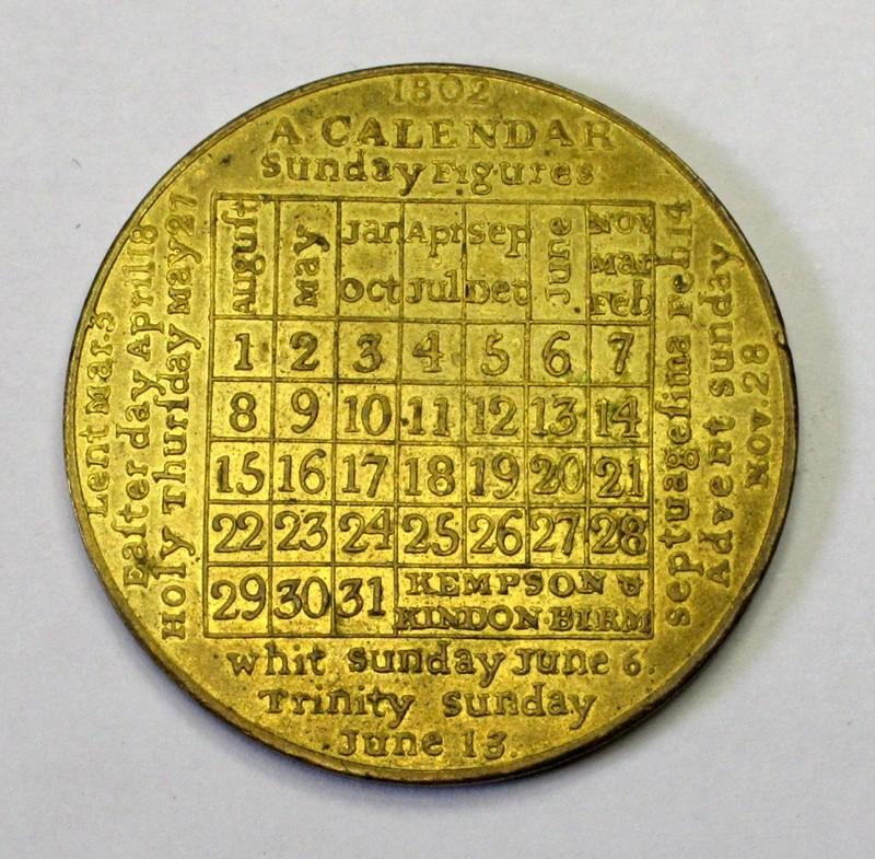 1802 calendar medal by Kempson