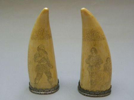 Pair of scrimshaws silver mounted
