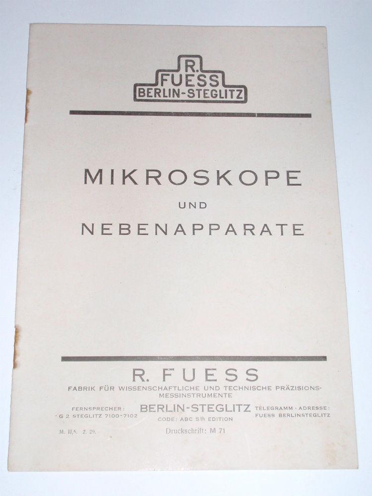 Catalogue R. Fuess, Berlin-Steglitz