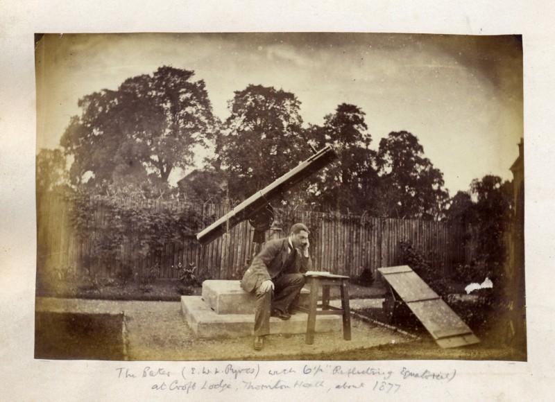 An astronomer (E.W.L. Ryves) with his telescope, original albumen photograph, circa 1877