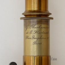 LACQUERED BRASS MICROSCOPE BY OBERHAEUSER & HARTNACK 1857-60