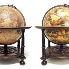 Terrestrial globe: Cosmotheore, Caelesti nostro Globo. Amsterdami, A(nn)o 17(50) Cum privilegio. / Celestial globe: Uranographia, Caelum omne. Ger. et Leon. Valk, Amstelaedamenses.