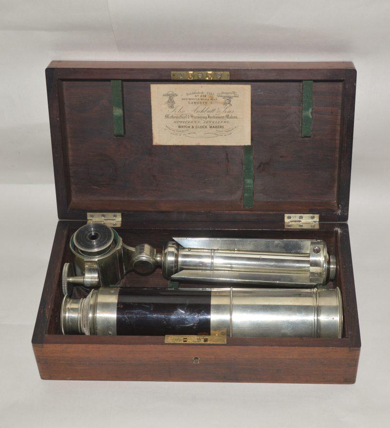 A good nickel silver portable telescope and tripod in case