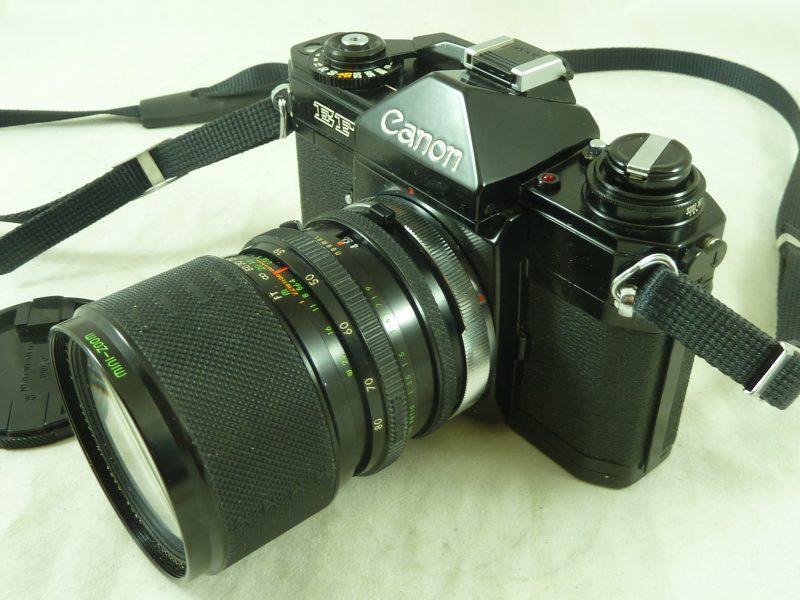 Canon EF SLR FD Black Beauty Film Camera Sigma 39-80mm Mini Zoom Lens Vintage