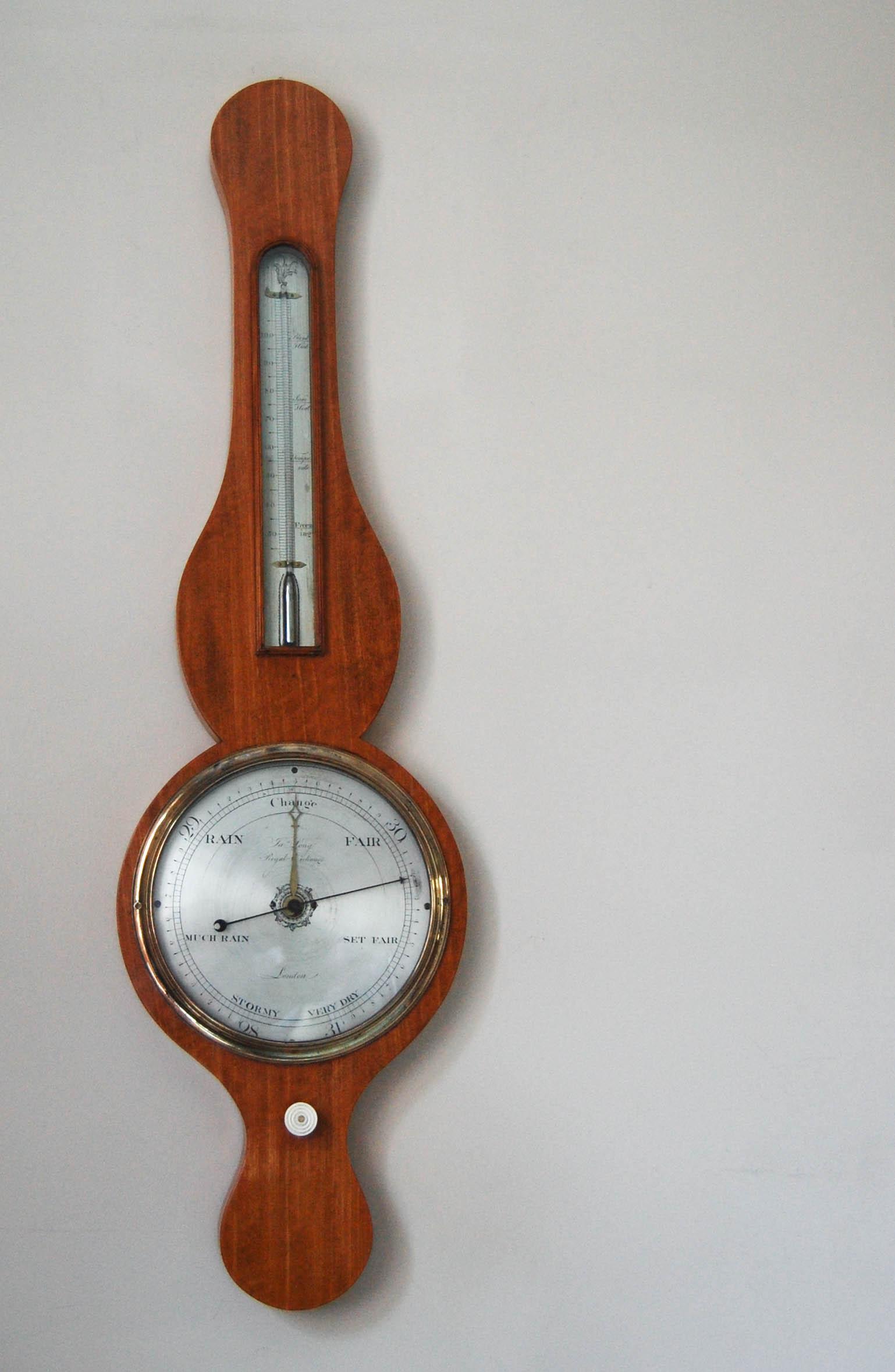 George III Period Satinwood Wheel Barometer by James Long, Royal Exchange, London.