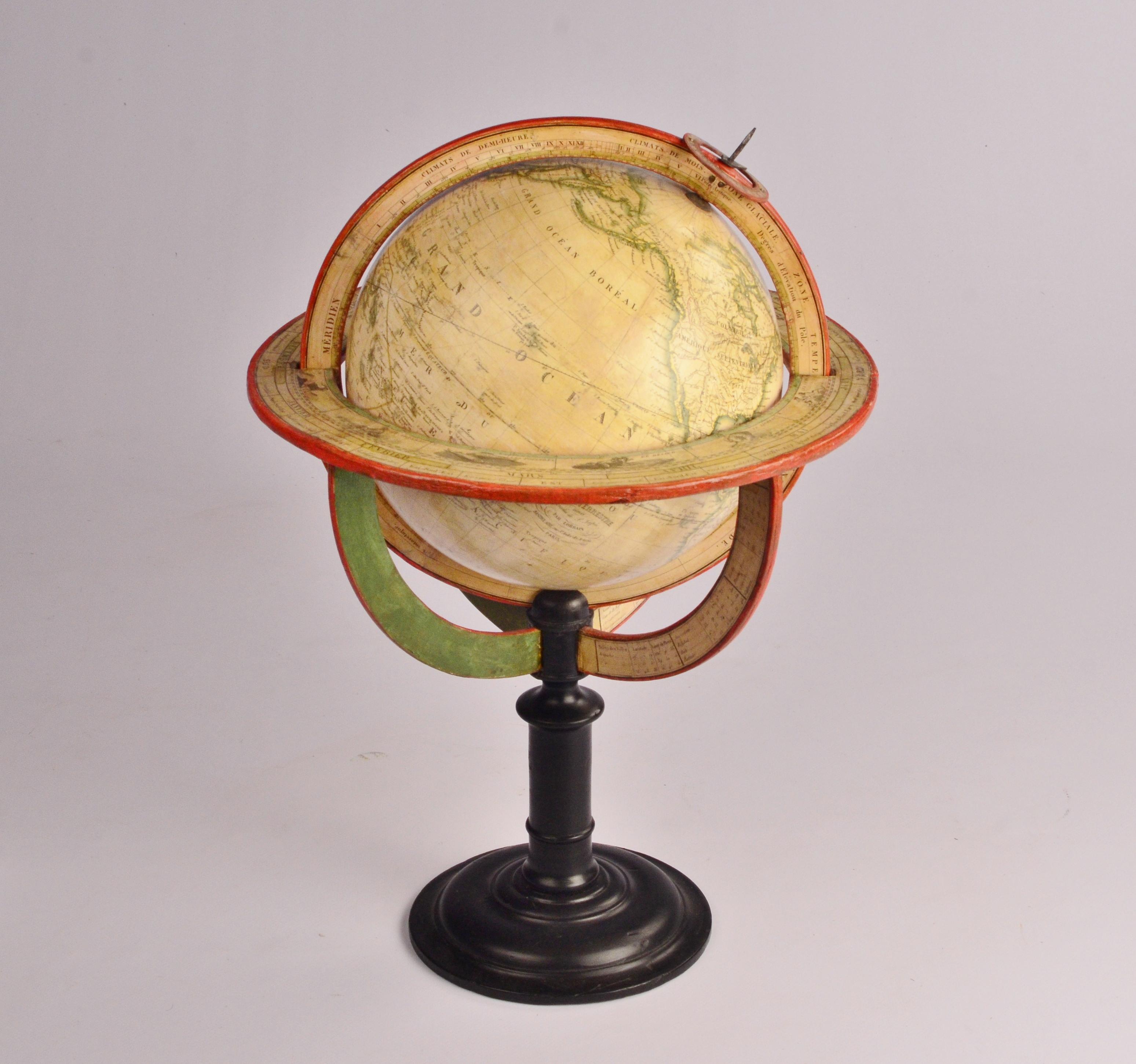 Interesting Terrestrial Table Globe of paper mache – P. Lapie/Lorrain, ca. 1840
