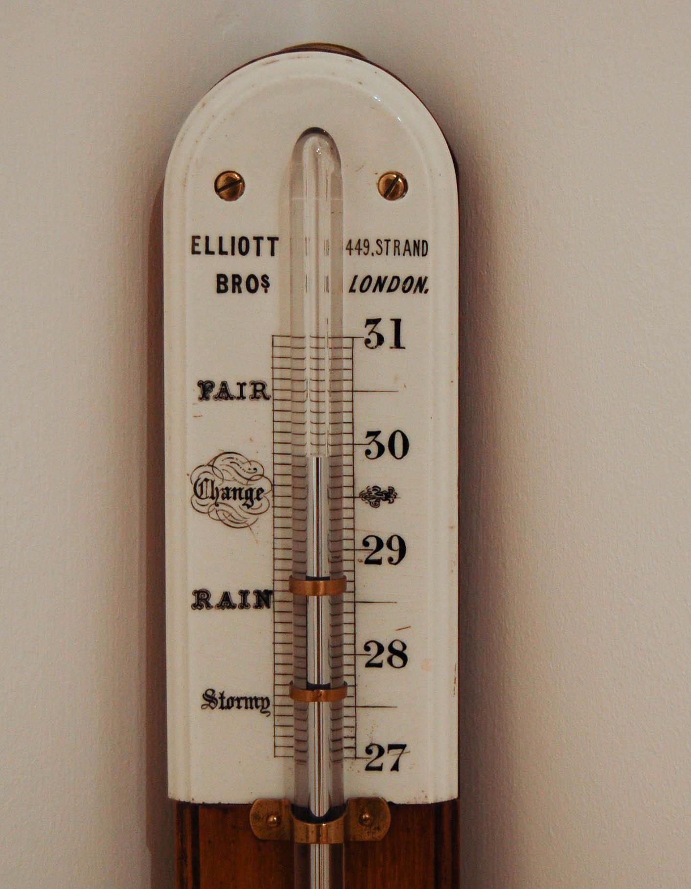 Mid Victorian Golden Oak Stick Barometer by Elliott Brothers London