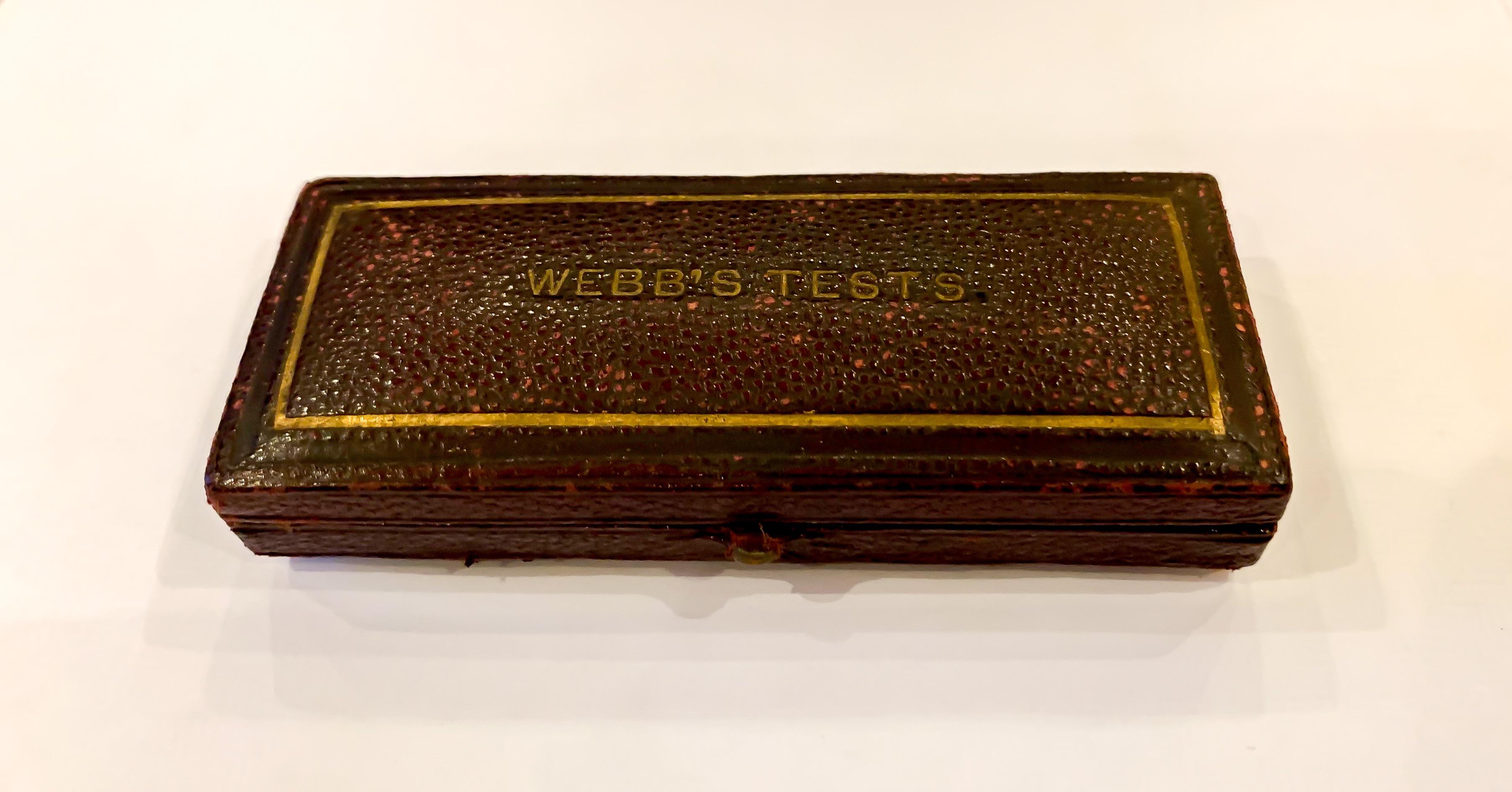 "Cased Antique Microscope Slide Engraving ""Webb's Tests"" c1860s"