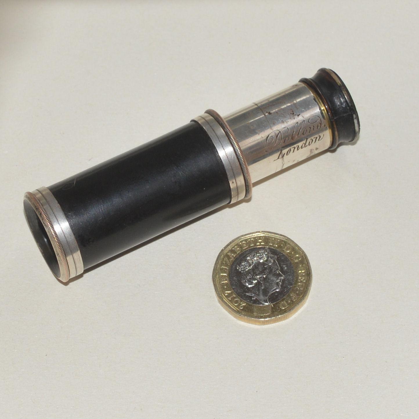 rare miniature silver plated telescope / spyglass – Dollond, London.