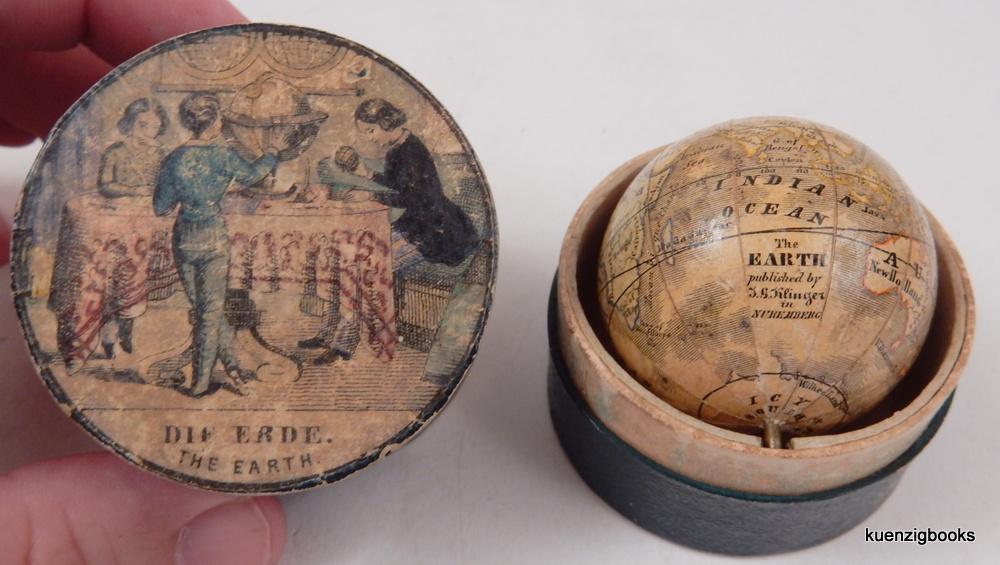 Miniature Klinger Nuremberg globe in original case. Nuremberg: J. G. Klinger, c 1860.