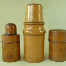 Three Victorian Pharmacy Bottle Turned Boxwood Holders Chemist Antique