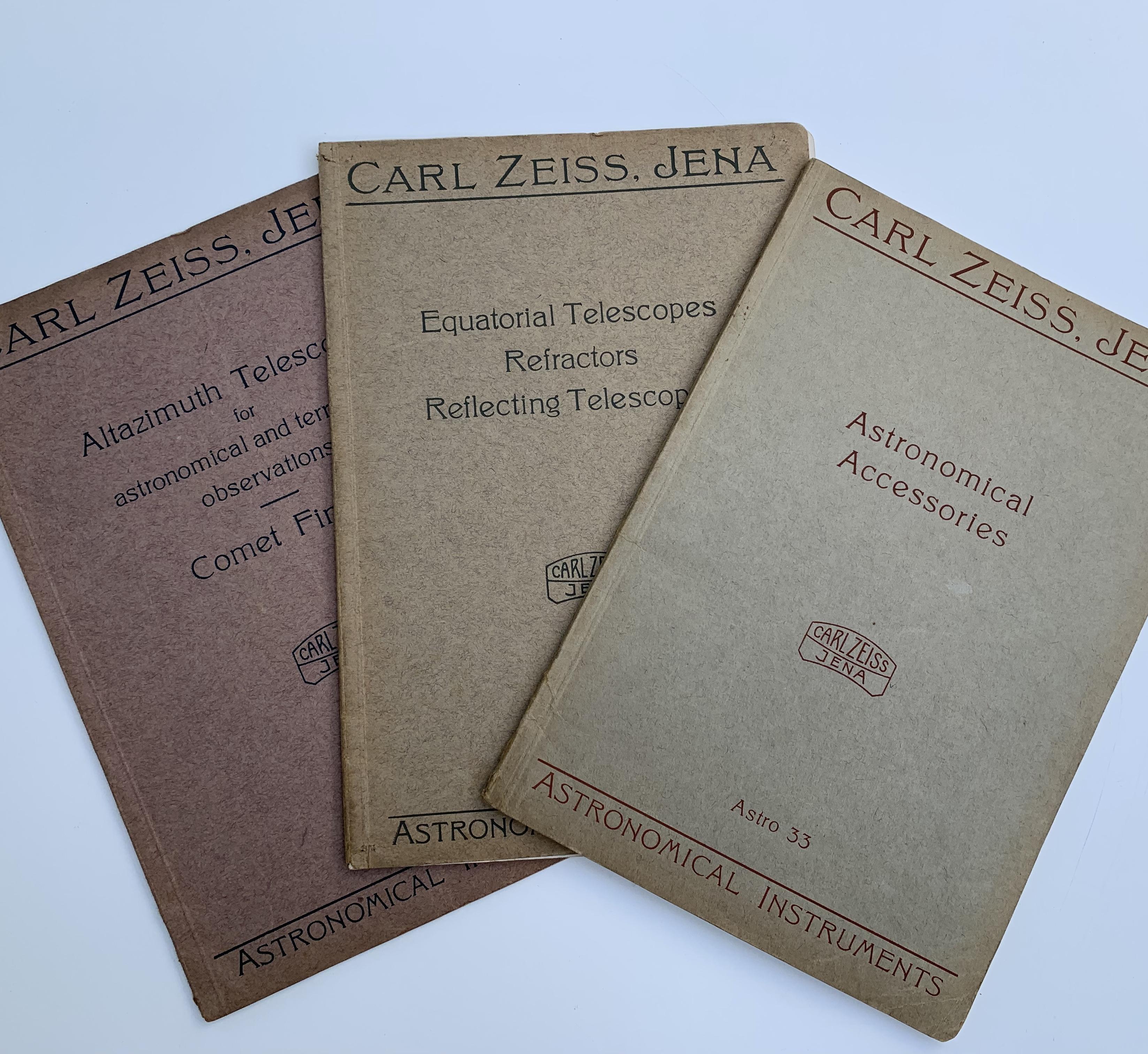 Three Antique Zeiss Telescope Catalogues c1920.