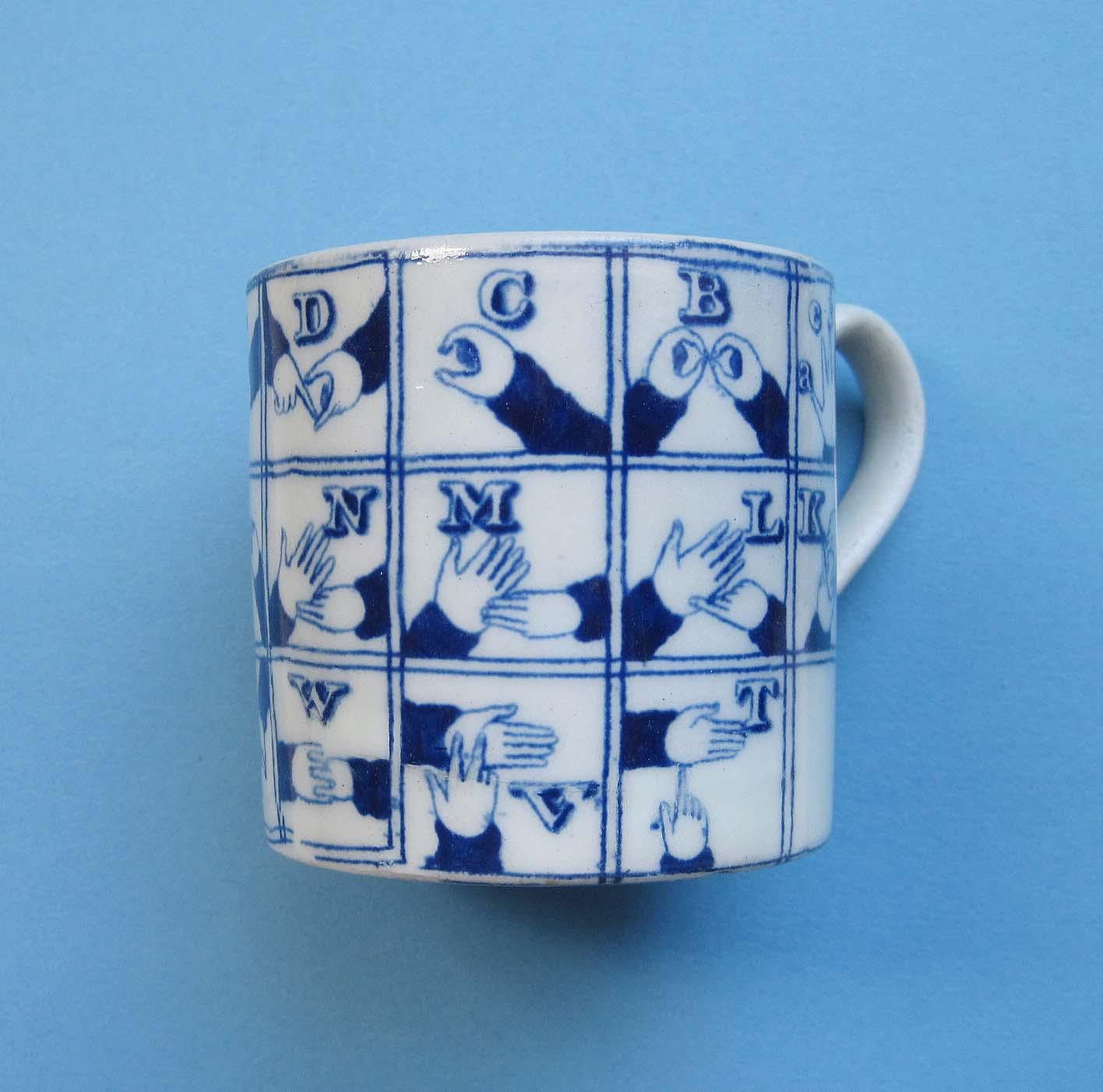 C1830 Staffordshire Child's Sign-Language Mug