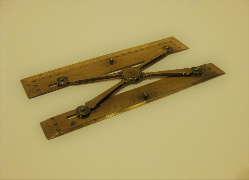 A fine scissor-type brass parallel rule by Geroge Adams Senior, mid-18th