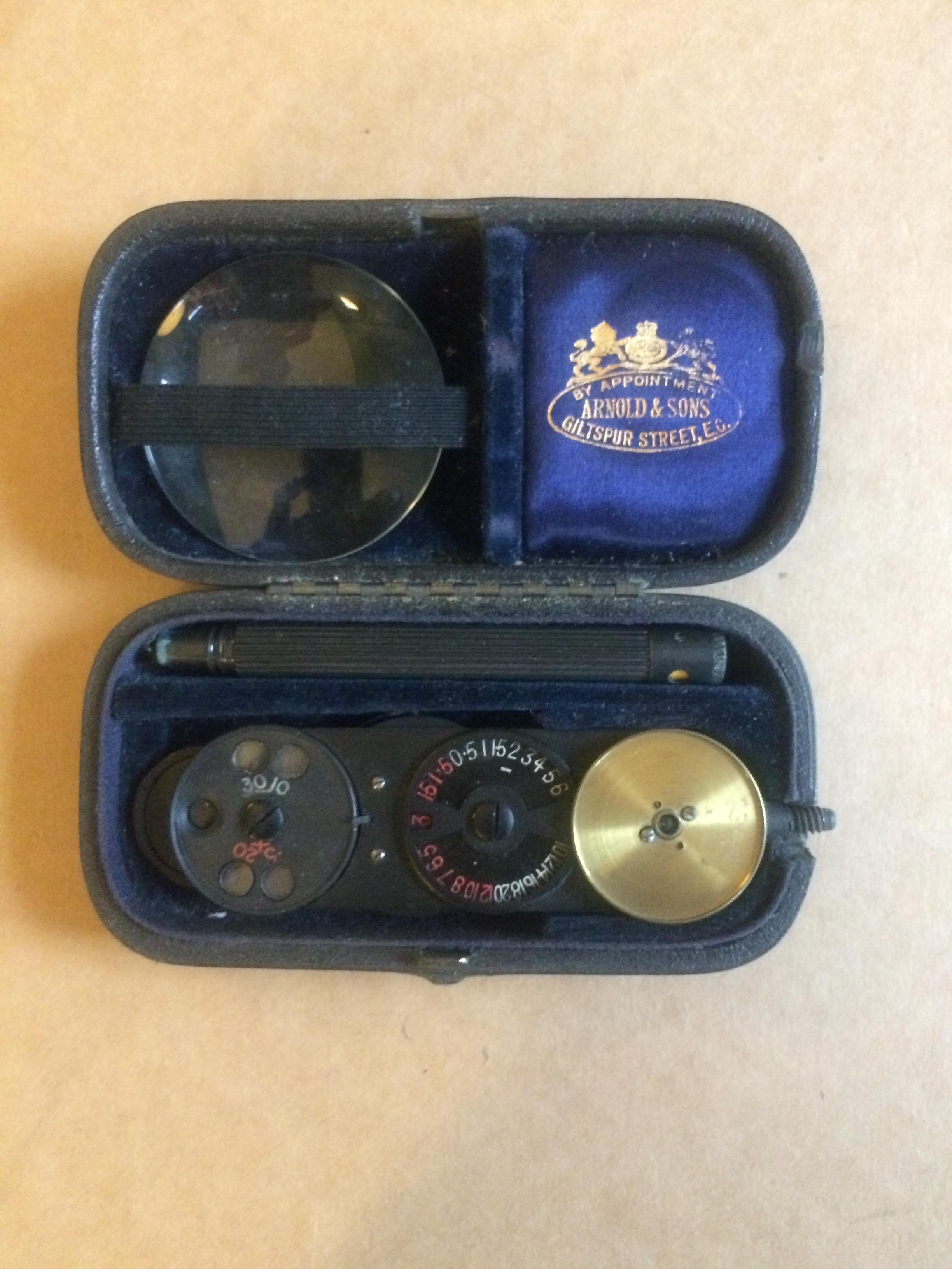 Presentation Ophthalmoscope  'St. Bartholomews Hospital Treasurers Prize, 1921' to A. B. H. Simpson.