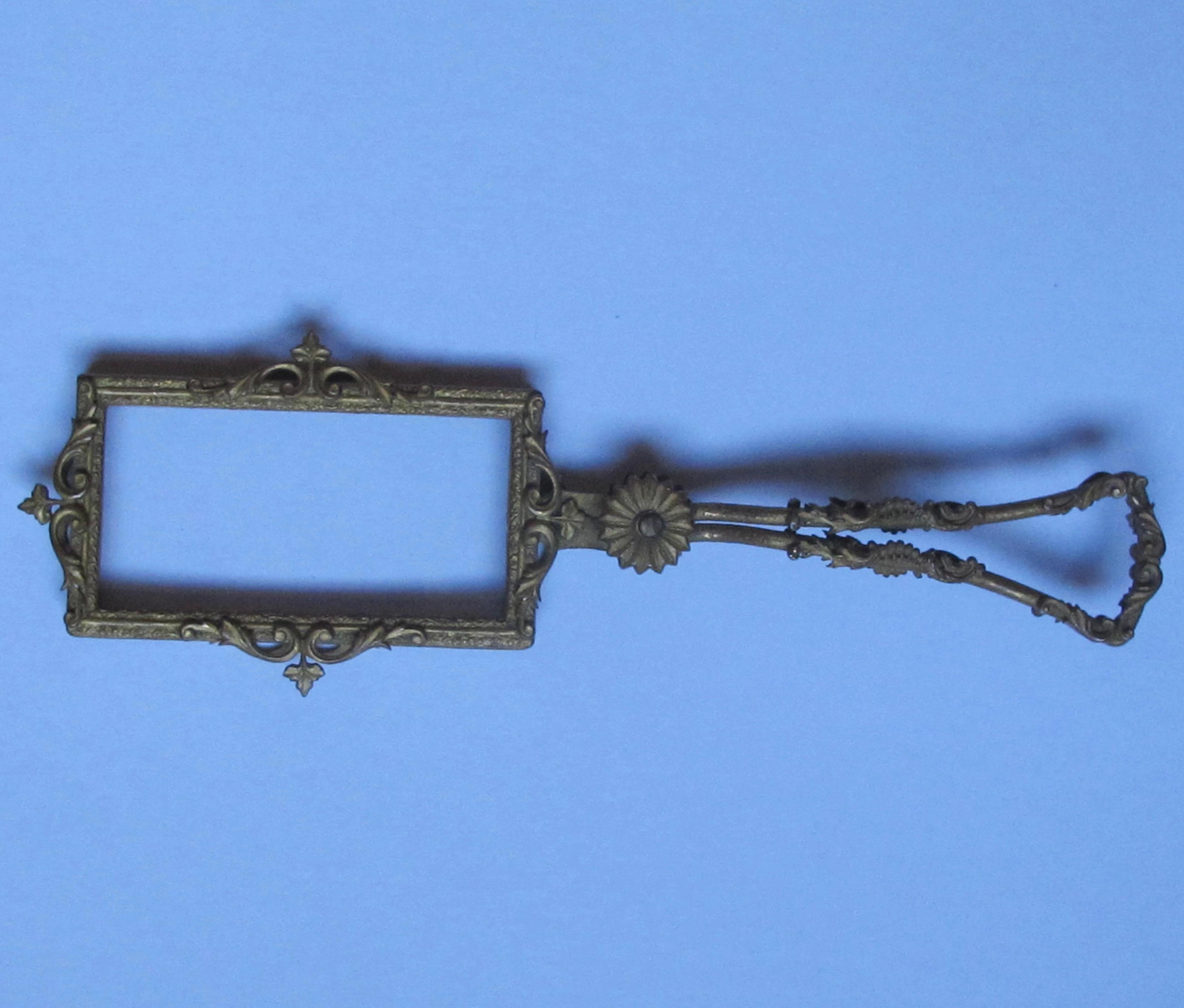 French Gilt Metal Rectangular Magnifier