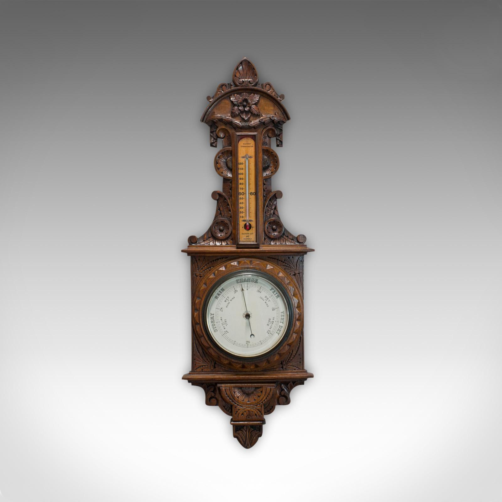 Vintage Factory Barometer, English, Oak, Banjo, Official, Factory Act 1937