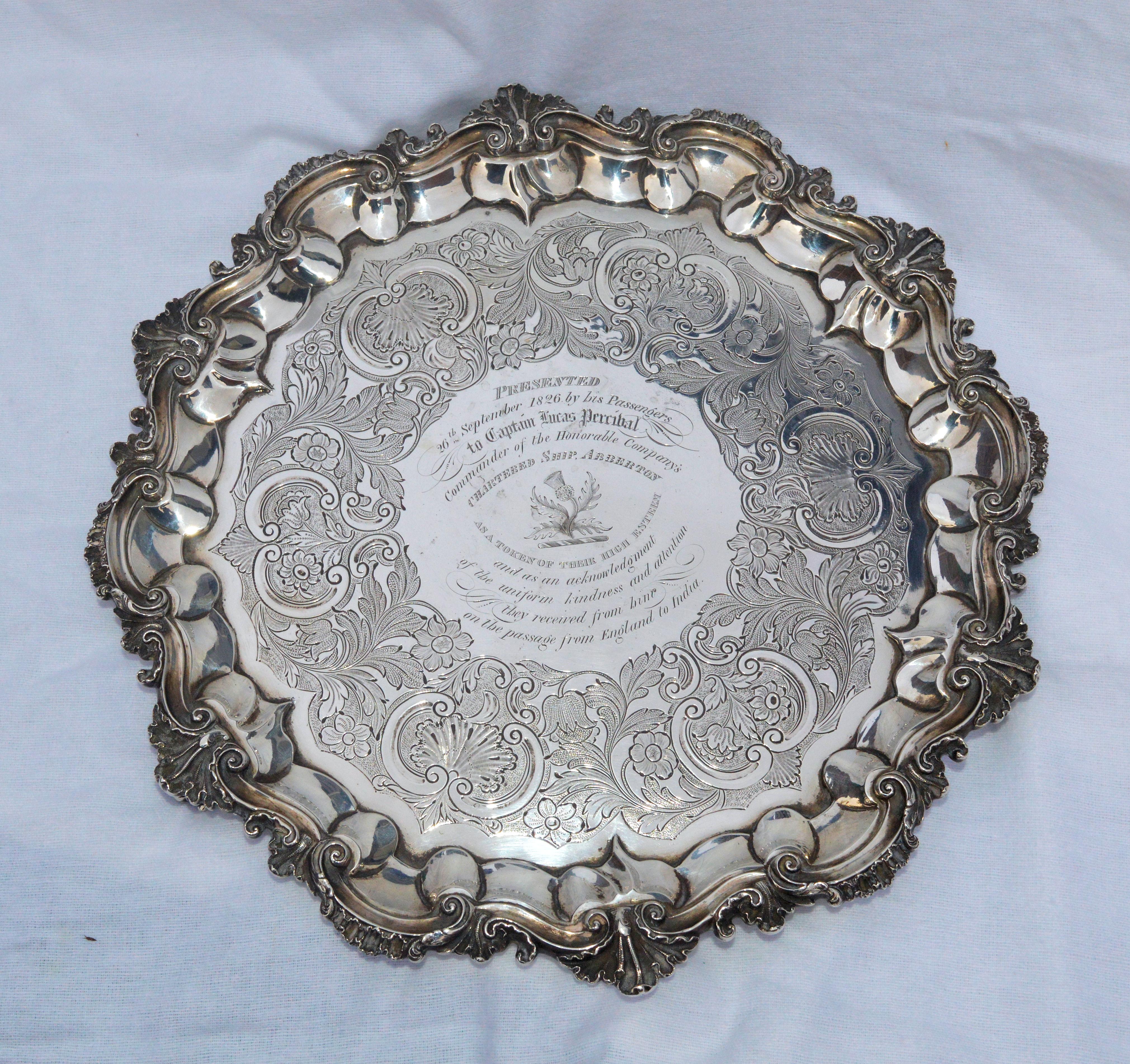 East India Company Presentation silver salver.