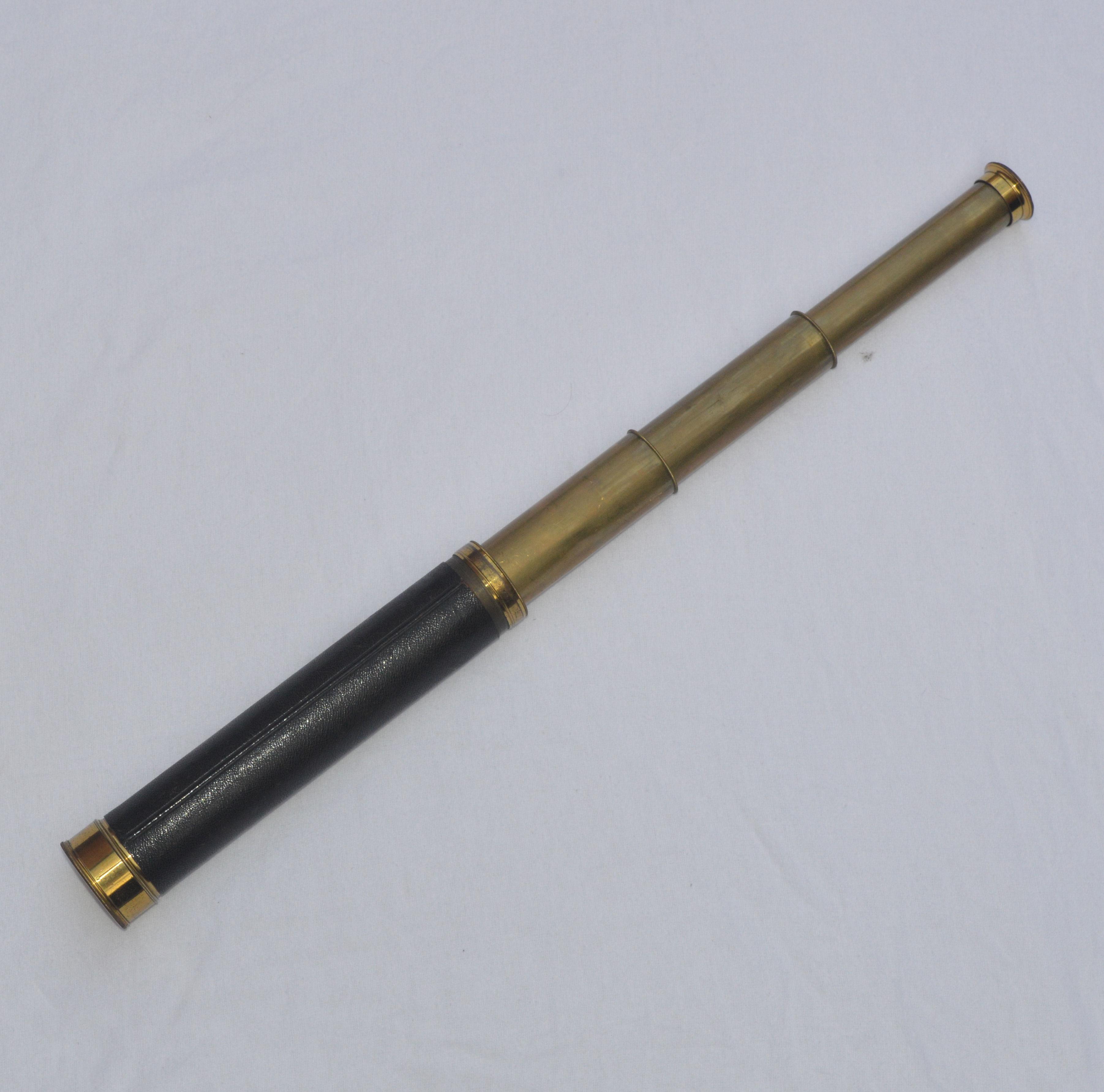 three draw brass telescope