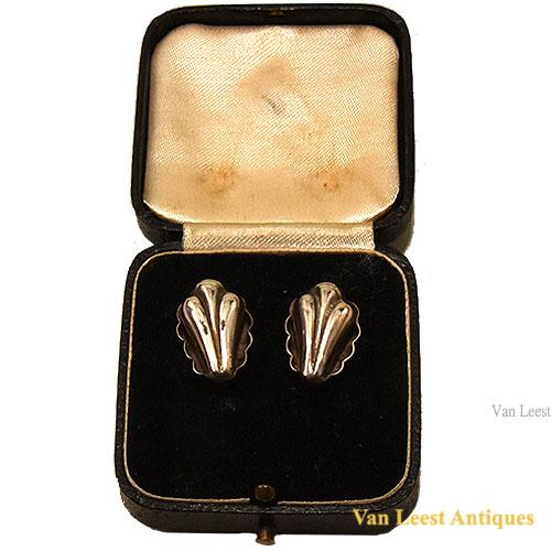 silver plated ear tubes, Art nouveau design.