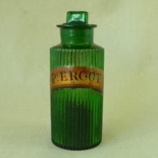 Ergot Chemist Apothecary Pharmacy Green Ribbed Glass Poison Jar