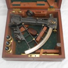 Ladder frame sextant in case – Ross, London.