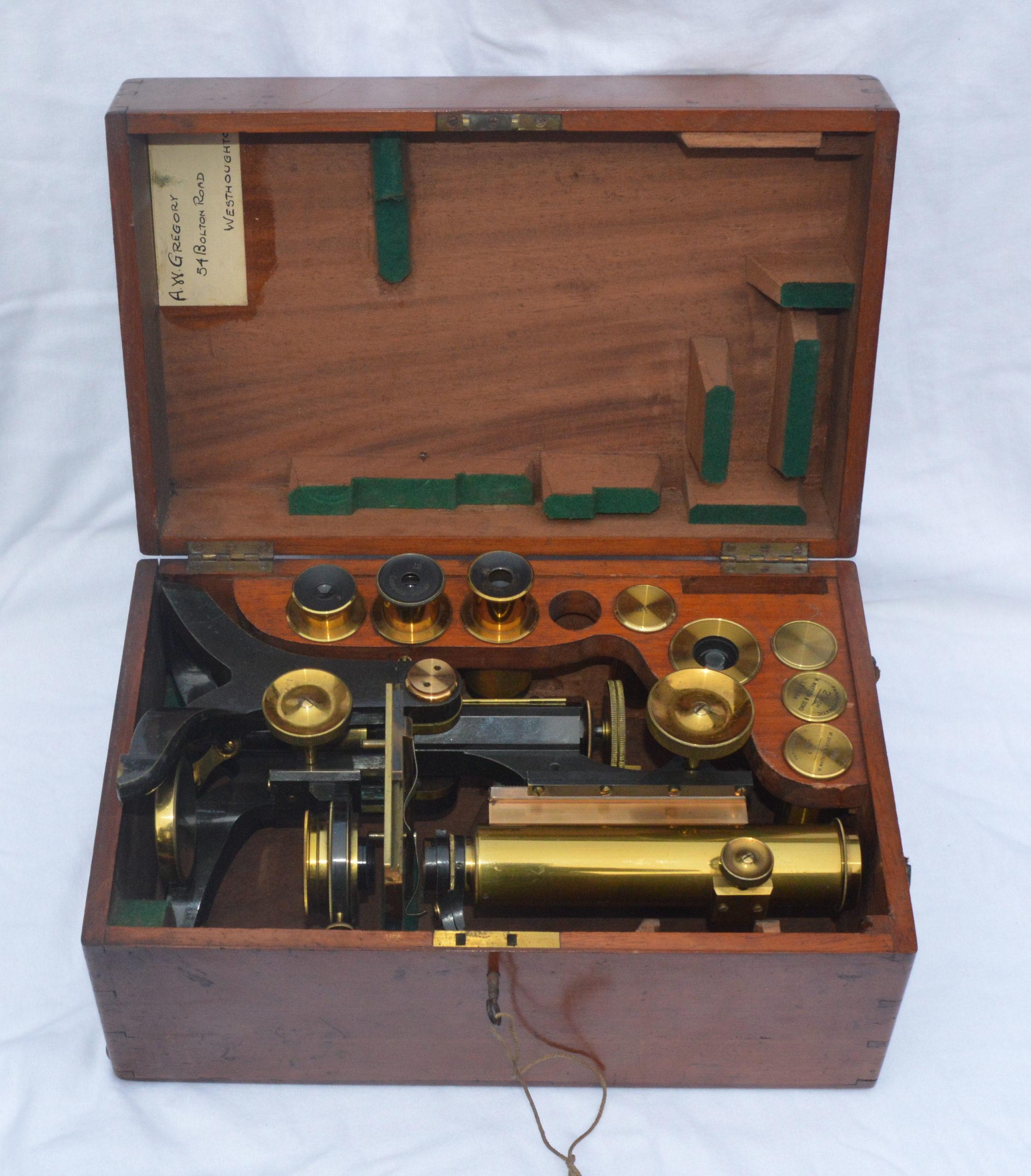 SOLD – Old brass microscope in case – J. Swift & Son.