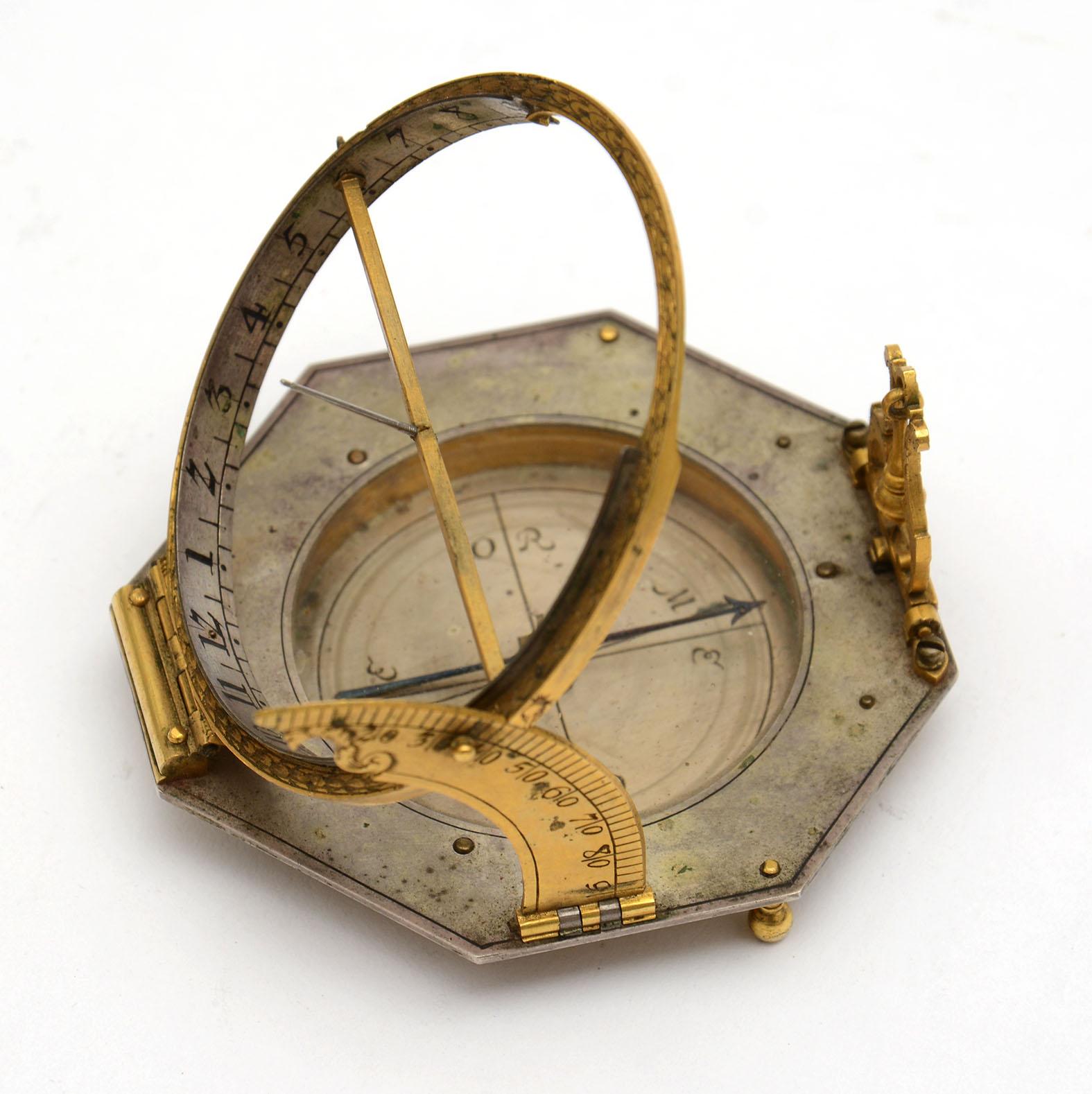 A fine equinoctial Compass Sundial by Johann Willebrand (c. 1658-1726)