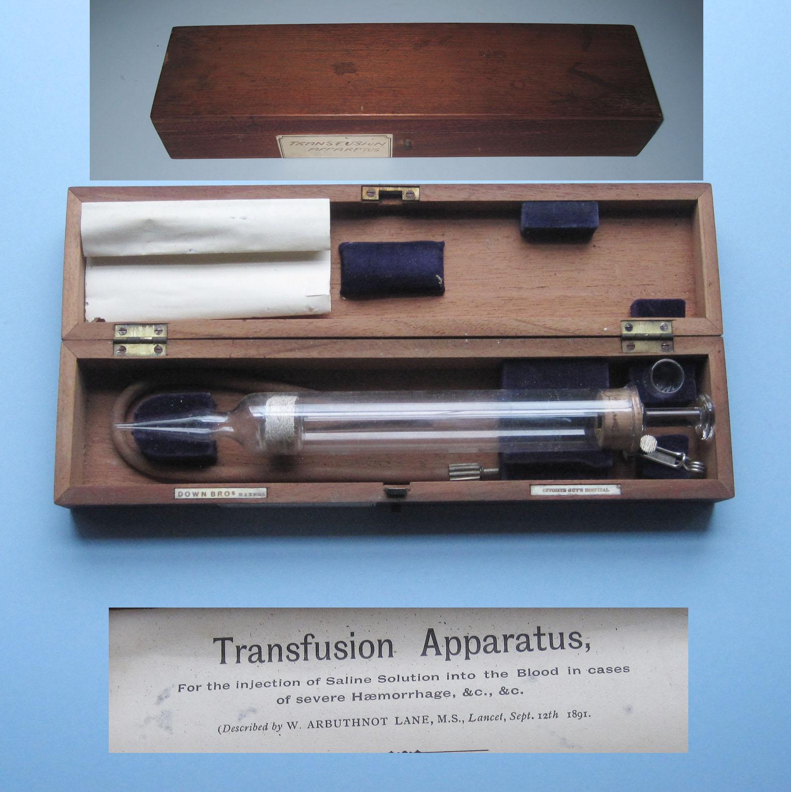 C1900 Arbuthnot's Transfusion Apparatus (Down Bros, London)