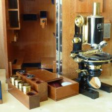 Carl Zeiss Jena Microscope 1B Jug Handle Boxed German 50237 Antique