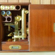 Baker London Brass Binonocular Microscope Large Boxed Antique