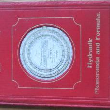 A Card Hydraulic Calculator Inserted on Cover of Book 'Hydraulic Memoranda and Formula'