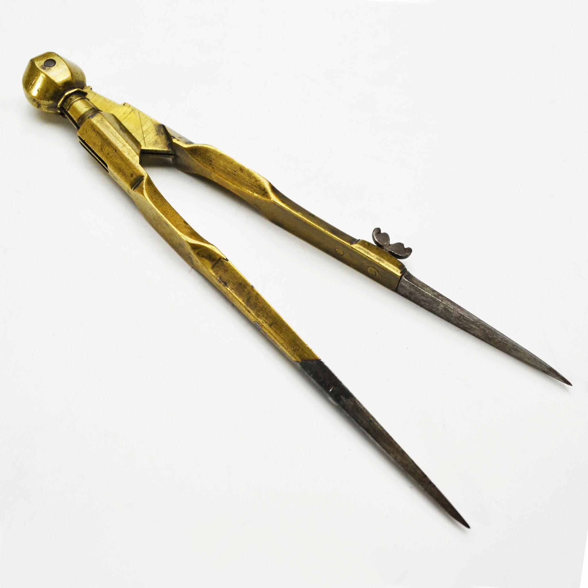 Fine brass compass dividers, circa 1720