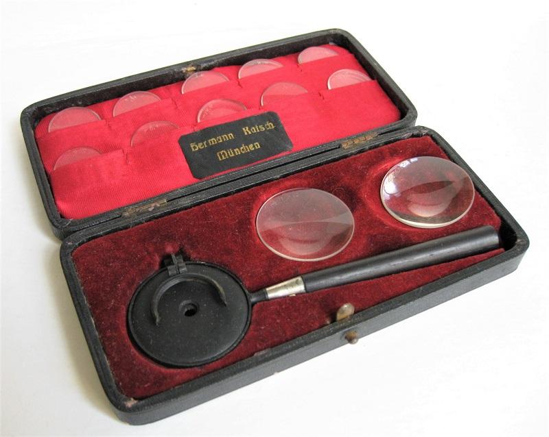 A complete Leibreich Ophtalmoscope by Katsch in Munchen, 1870s'