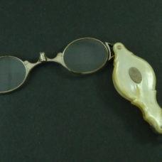 Siver Folding Hinged Bridge Unsprung Lorgnette Mop C1800 Spectacles Oval Lens Antique