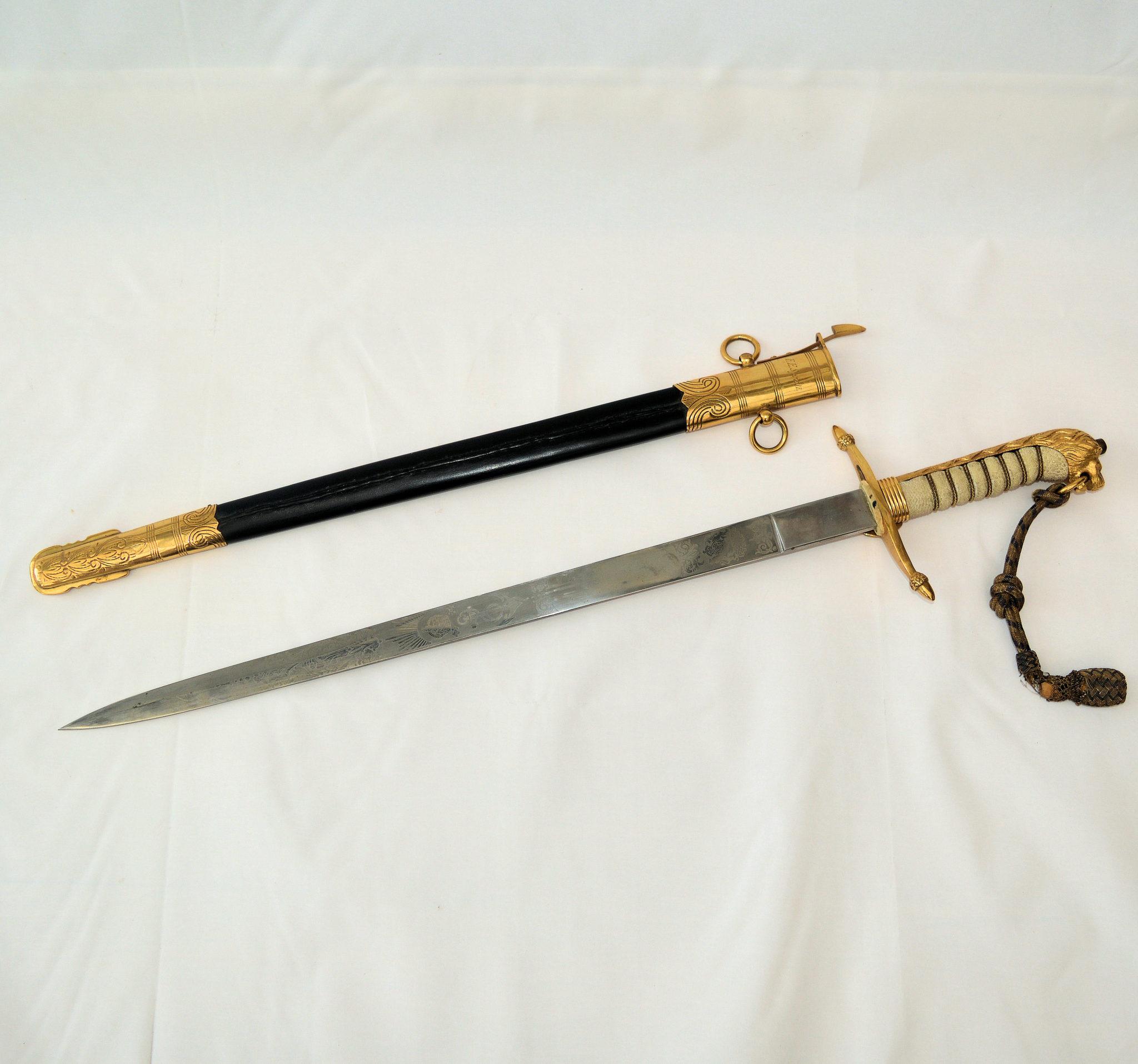 SOLD – Naval sword, dirk and telescope: Lieutenant F.E. Spratt, submarine 'Syrtis'.