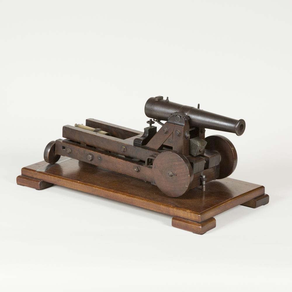 Model of a coastal defence cannon, circa 1870.