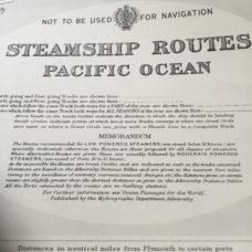 Steamship Routes – Pacific Ocean, 1953 – A very rare Admiralty sea chart