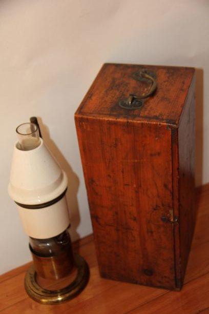 ~A GOOD PARAFFIN MICROSCOPE LAMP by STEWARD c. 1860