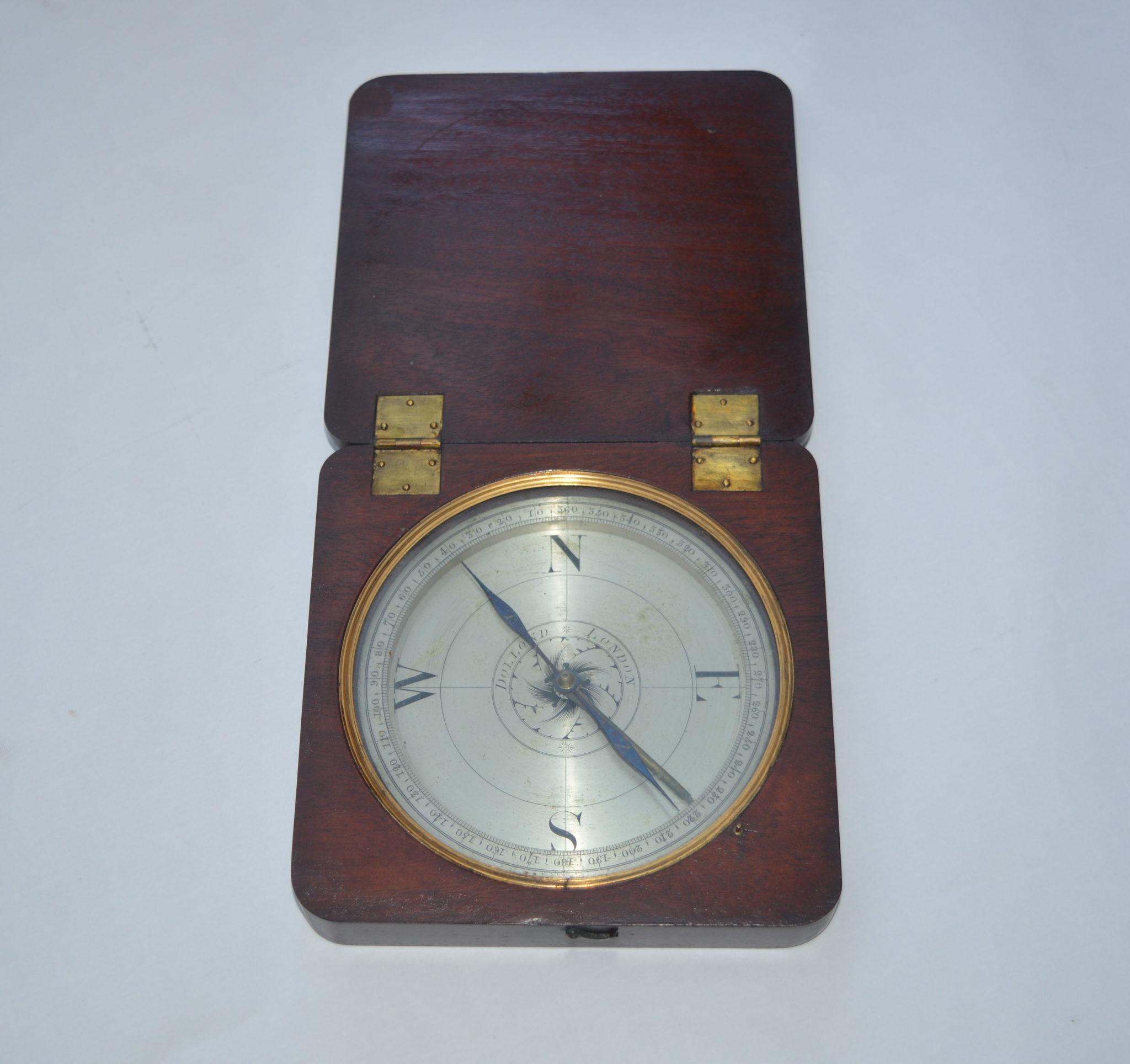 Large Mahogany cased surveying compass – Dollond, London.