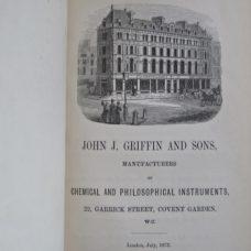 John J. Griffin & Sons 1873 Scientific Demonstration Apparatus Catalog