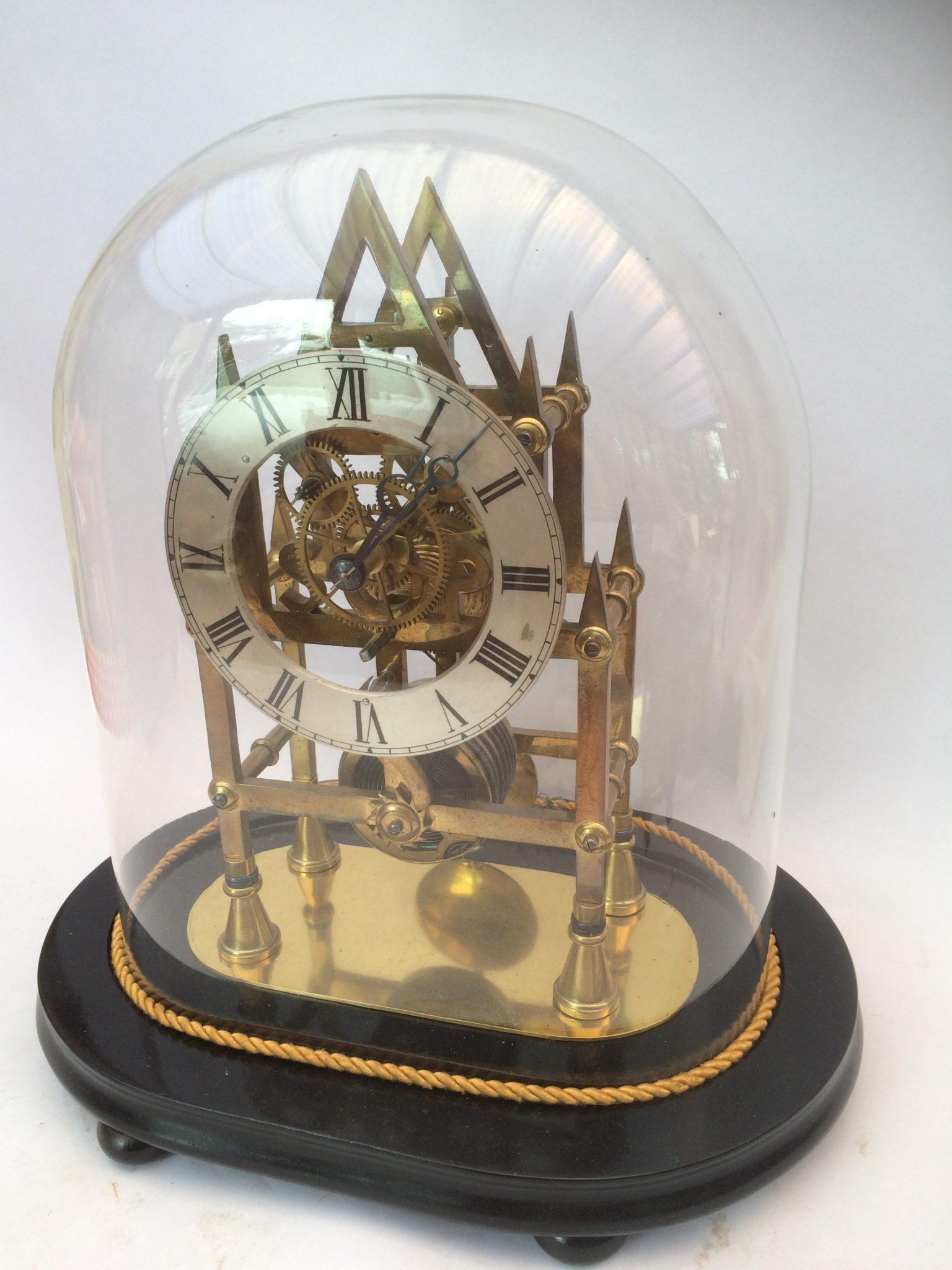 6 Spoke Skeleton Clock under Glass Dome