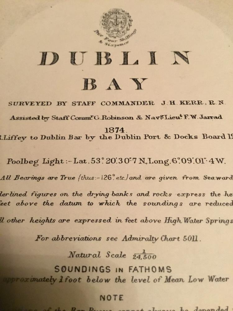 IRELAND, Dublin Bay, 1912 edition British Admiralty sea chart