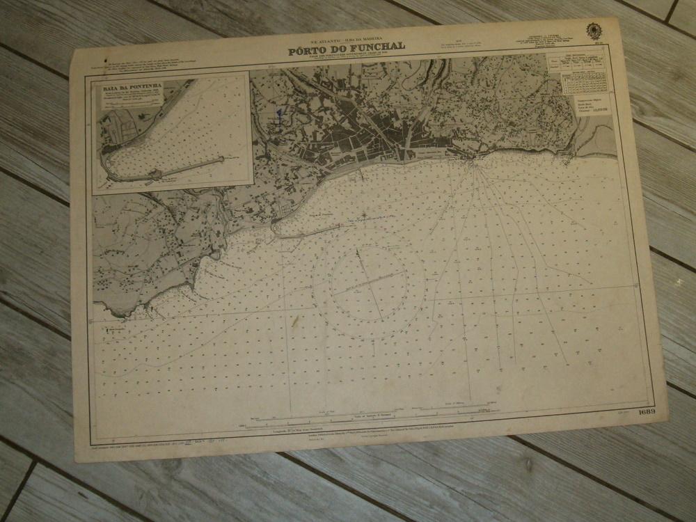 ILHA DA MADEIRA, Porto do Funchal, 1944 edition British Admiralty sea chart