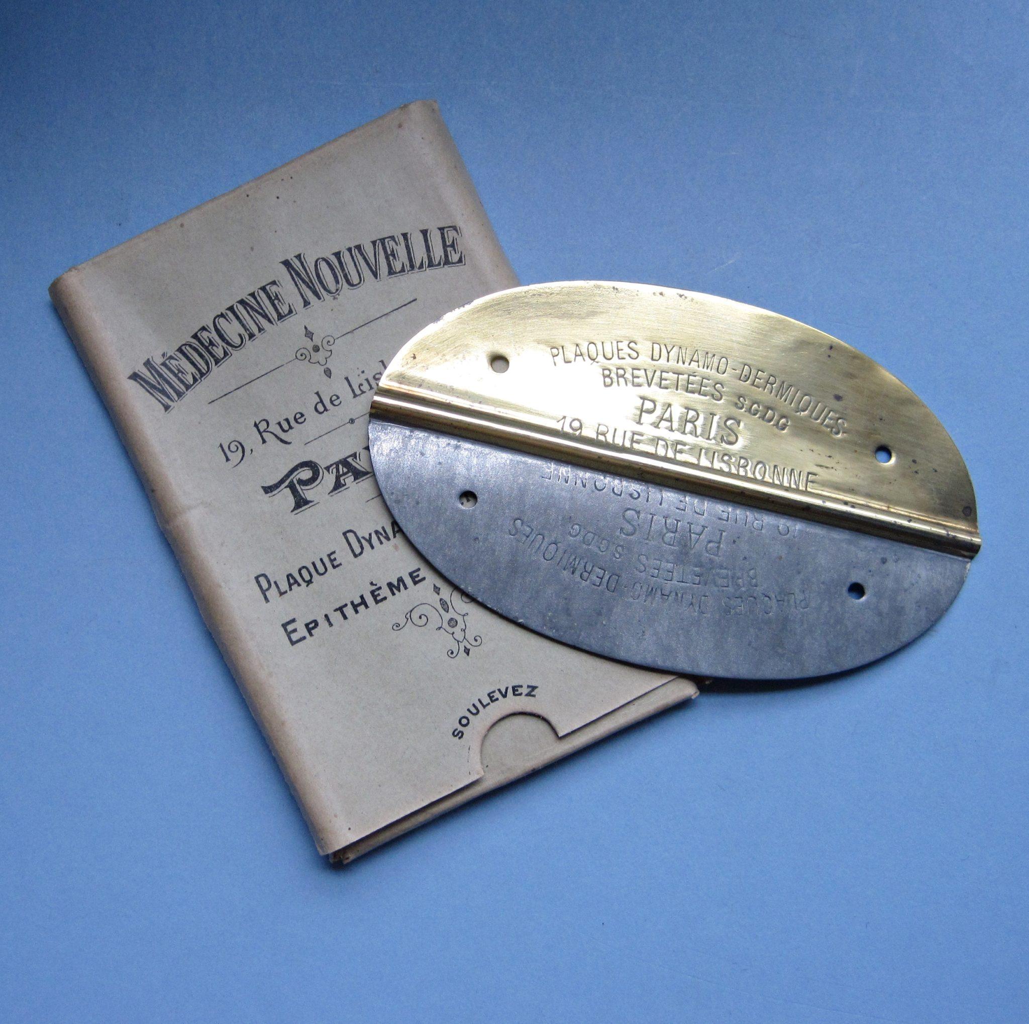 Plaque Dynamodermique: C1900 Vitalist-Mettalotherapy device