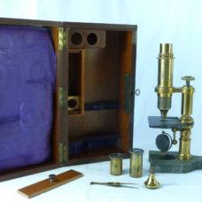 E. Hartnack & A. Prazmowski French Microscope 18106 Boxed Accessories