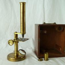 Round Base Negretti & Zambra Microscope Brass Boxed
