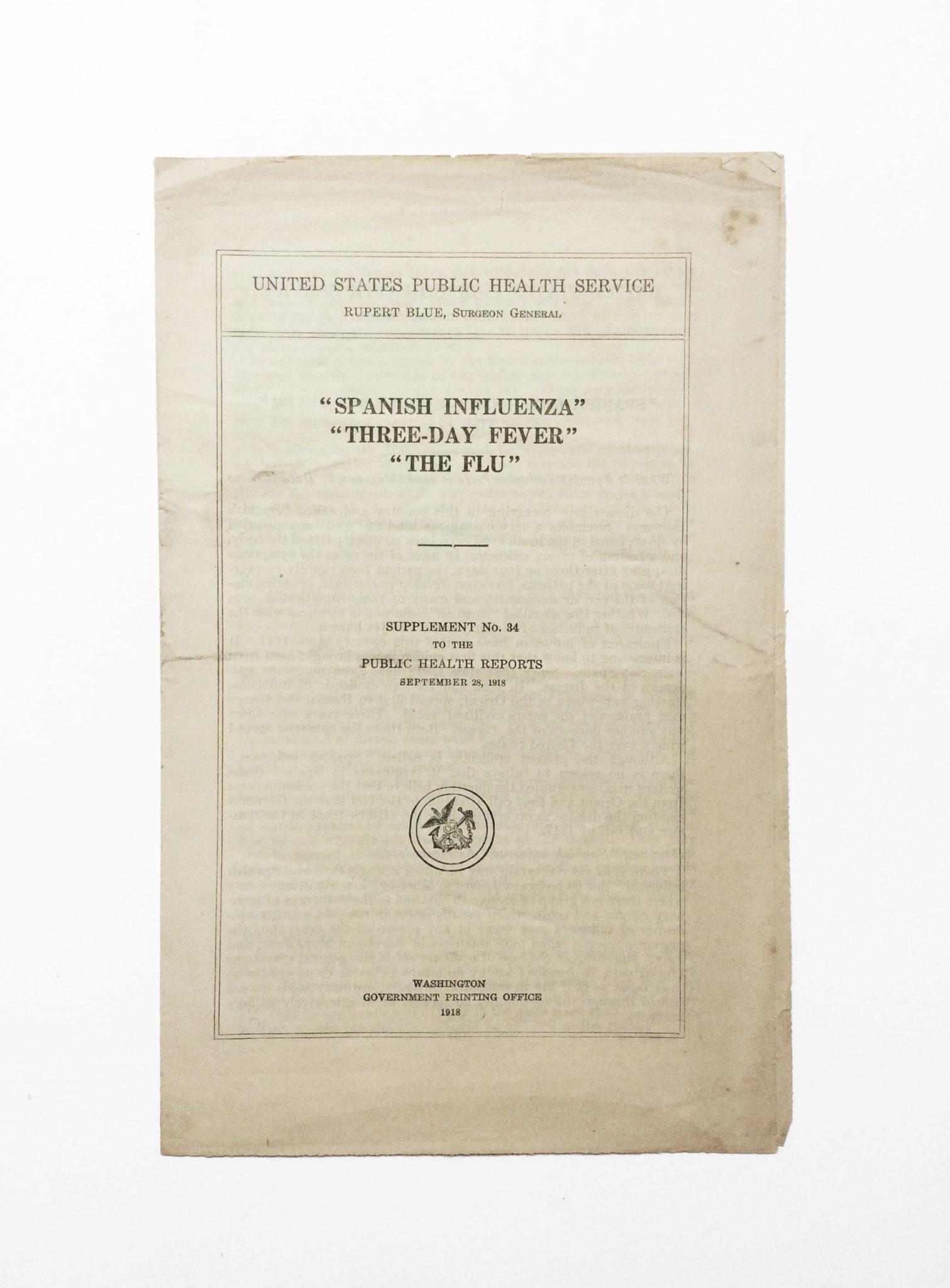 Social distancing in 1918: rare Spanish Flu ephemera