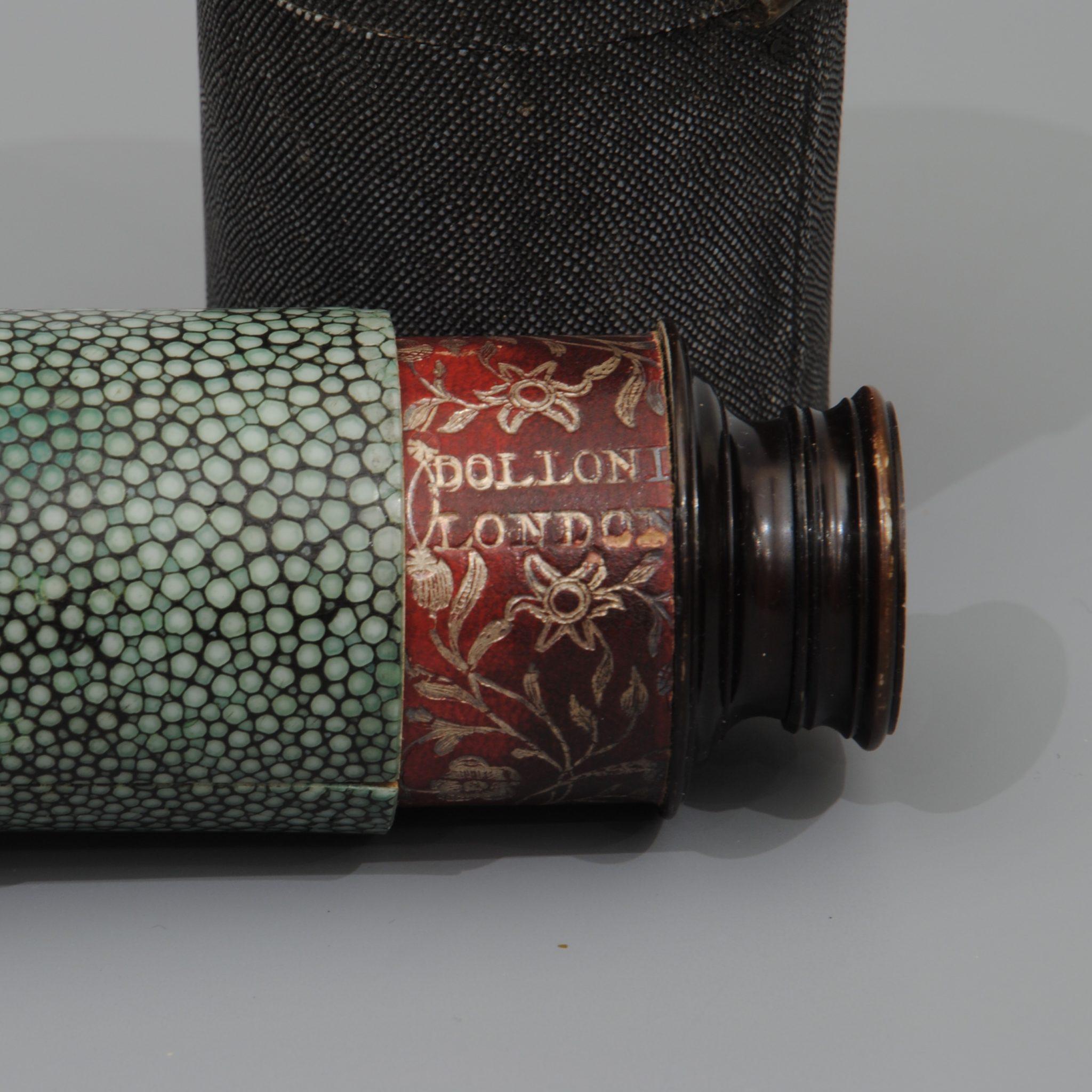 Dolland green shagreen spyglass, in original fishskin case