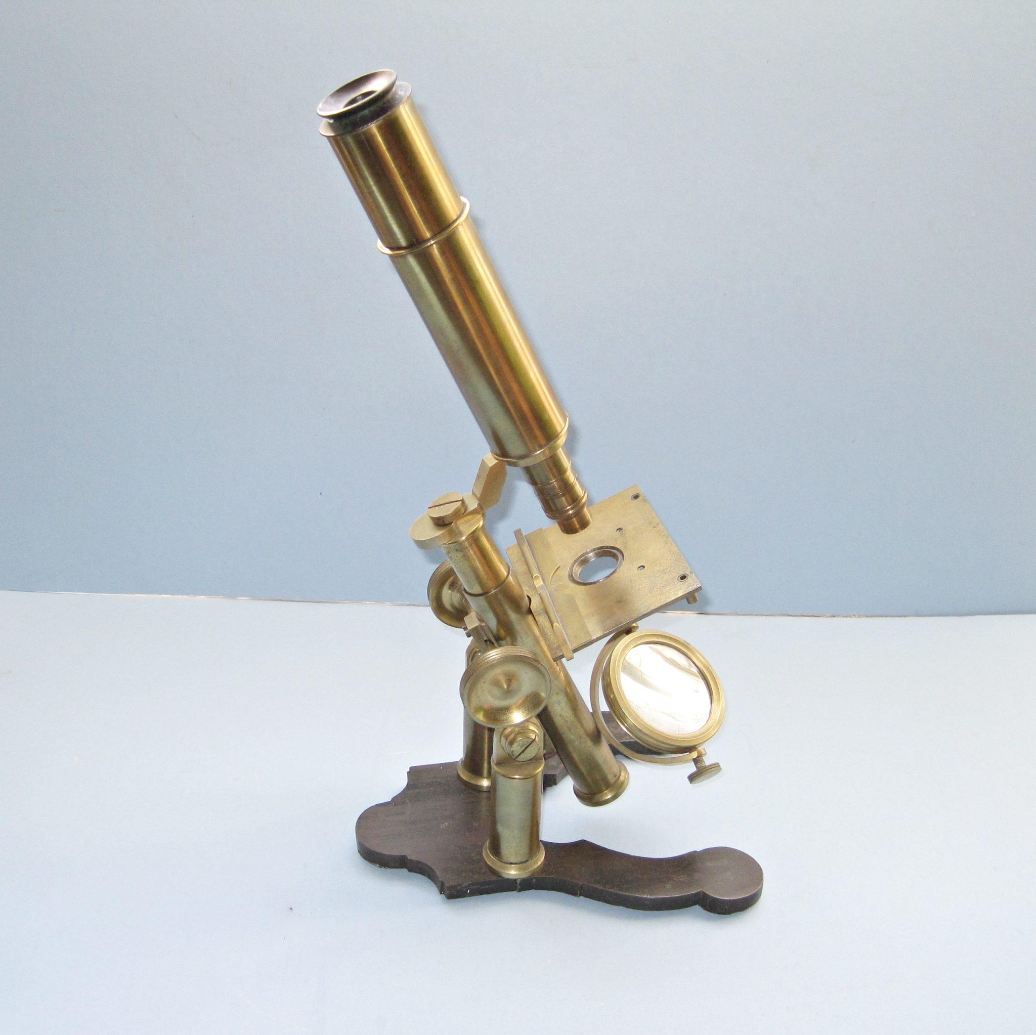 Large, Brass, Double-Pillar Compound-Monocular Microscope, C1870s